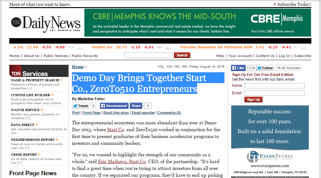 Demo Day Brings Together Start Co., ZeroTo510 Entrepreneurs