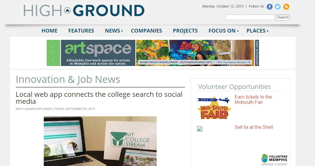 Local web app connects the college search to social media