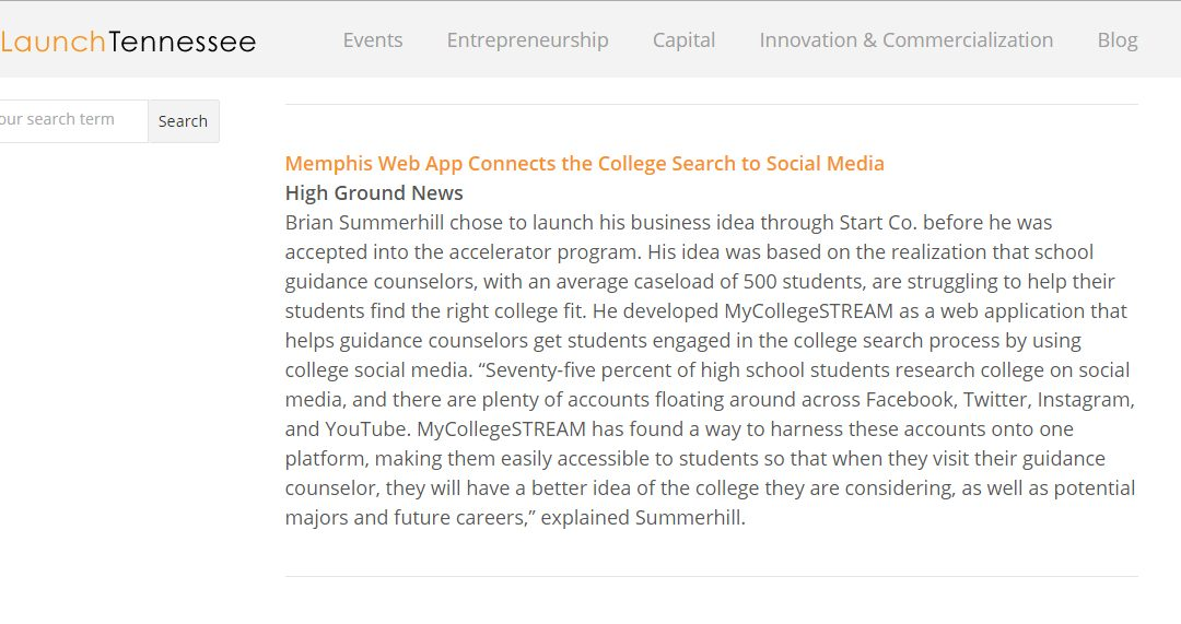 Memphis Web App Connects the College Search to Social Media